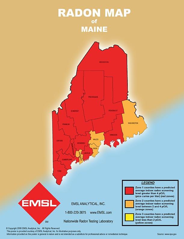 Radon Map - Maine counties map